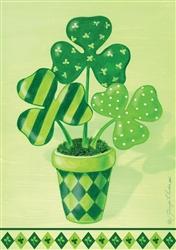 Pot O Shamrocks Decorative Garden Flag
